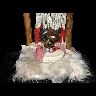 Vintage 1941 Navajo Indian Rug weaver doll figure