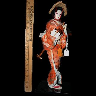 """Vintage 15"""" Japanese silk face Geisha rare hat mandolin"""