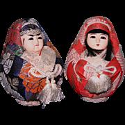 Vintage Japanese gofun dolls He Me Da Ruma royal pair