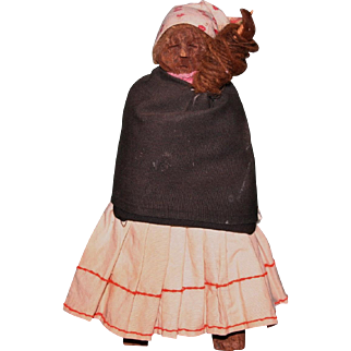 antique primitive wood carved Native doll