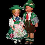 Vintage 1950's German Moll's Trachten Puppen boy girl