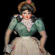 "Vintage 10"" flirty Brazilian cloth doll"