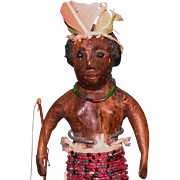 Primitive Aborigine Tribesman carved wood figure British Guiana