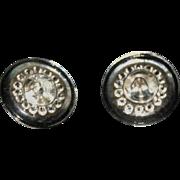 "Vintage glass buttons large 1"" set 6"