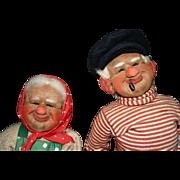 "1930's West German Kis stockinette 14"" dolls TLC"