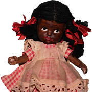 Vintage black Bisque Japan doll original costume