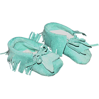 Vibrant turquoise leather doll moccasins