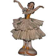 "4"" China marked bisque Dresden figurine lady EXC"