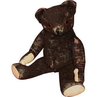 Early dark brown mohair jointed bear all original