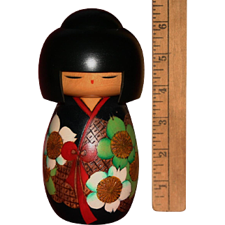 Gorgeous Mint Japanese Kokeshi wooden doll figure