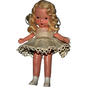 Beautiful 1940 molded sock pudgy Nancy Ann Storybook bisque doll