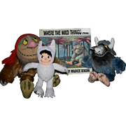 "Vintage ""Where the Wild things Are"" plush set book"
