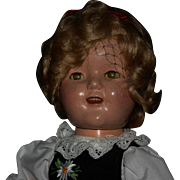 """1st production run marked 16"""" Ideal Shirley Temple composition"""