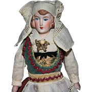 "7"" Parian bisque china doll Norwegian dress"