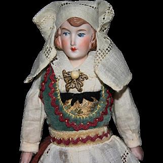 "7"" Parian bisque china doll Norwegian dress"