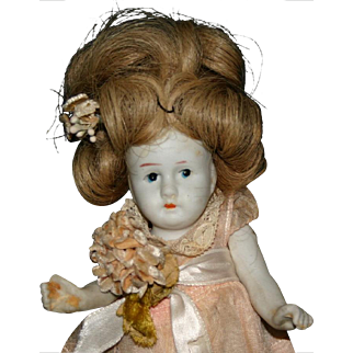 """6"""" Japan all jointed bisque doll human hair"""