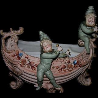 German bisque porcelain spill vase elf figural