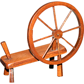 Vintage doll size wood spinning wheel prop