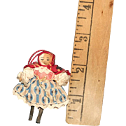 Miniature wooden Grodner type jointed doll cloth covered head