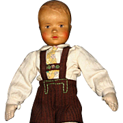 "Vintage 12.5"" carved wood Heidelberg Germany boy doll"