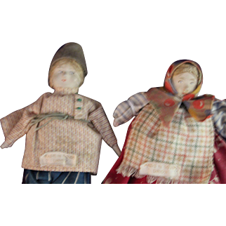 "Set 4"" Soviet Union tagged stockinette 1930's cloth dolls"