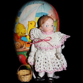 antique German dollhouse miniature bisque googly doll vintage egg