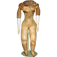 """9"""" antique leather Lady body with china bisque arms - Red Tag Sale Item"""
