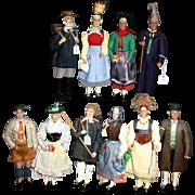 Set 5 German couples Vintage wood dolls Rarity