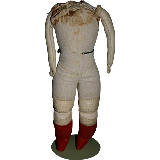"""Antique 8.5"""" doll body cloth & leather..... stitched hands"""