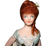 Doll house lady miniature bisque doll