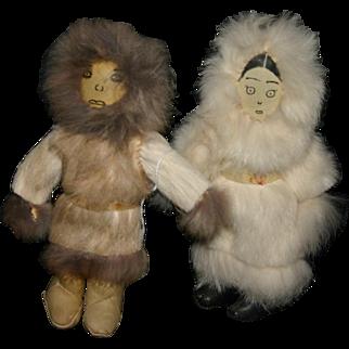 Vintage Alaskan Eskimo Inuit leather dolls