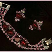 Ruby Red Fan-Shaped, Pink, AB Clear Chaton Rhinestone Demi Bracelet Earrings
