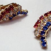 Weiss Patriotic Red, White, Blue Rhinestone Earrings