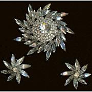 Weiss Sunburst Crystal Clear Navette and Chaton Rhinestone Demi Brooch Earrings