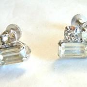 Duane Art Deco Style Clear Rhinestone Earrings