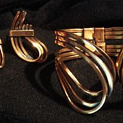 "Renoir ""Rhythm"" Copper Demi Cuff Bracelet Earrings"