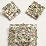 Weiss Crystal Clear Rhinestone Square Demi Brooch and Earrings