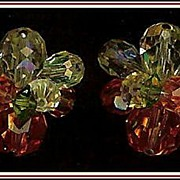 Vendôme Orange, Olivine, Jonquil, AB Clear Bead Earrings