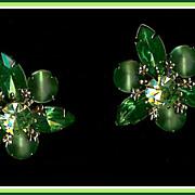 Vintage Emerald Green and Peridot Rhinestone and Satin Glass Earrings