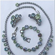 Weiss Peridot Green, Baby Blue and AB Rhinestone Parure Necklace, Bracelet, Earrings