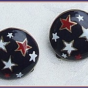 Patriotic Red, White, Blue Star Earrings