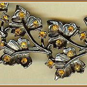 Autumn Orange Rhinestone and Blackened Silvertone Leaf Bracelet