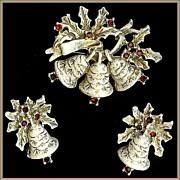 """Book Piece"" Dodds Red Rhinestone Christmas Bells Holiday Brooch Earrings"