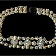 Weiss Sparkling Oval and Chaton Rhinestone Bracelet