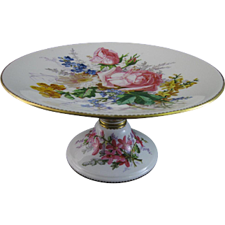 Stunning English Victorian Hand Painted Tall Floral Cake Stand / Tazza - 1882