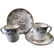 Pair Aesthetic Brown Transferware Demitasse Cup & Saucer 1879