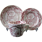 English Victorian Transferware Child's Cup & Saucer and Plate Set 1870s - Red Tag Sale Item