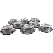 Set of 8 Aesthetic Transferware Cup & Saucer Sets - 1883