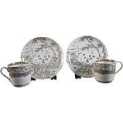Pair Aesthetic Brown Transferware Demitasse Cup & Saucer Sets - 1881