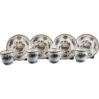 Set/4  Aesthetic Movement Brown / Polychrome Cup & Saucers Japonism c. 1880s
